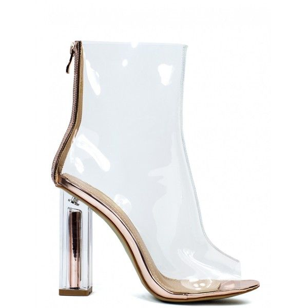GOLD DIGGER CLEAR PERSPEX ROSE GOLD BLOCK HEELED BOOTS ($56) ❤ liked on Polyvore featuring shoes, boots, rose gold boots, gold boots, pointy-toe ankle boots, gold shoes and short high heel boots