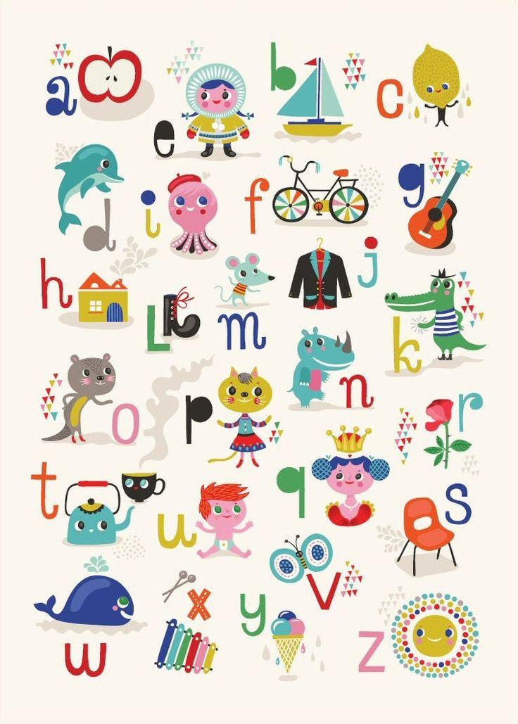 Vrolijke ABC-poster van Helen Dardik. Leuk en leerzaam voor kids want de afgebeelde tekeningen en letters komen overeen met de klanken zoals de kinderen deze in groep 3 leren.