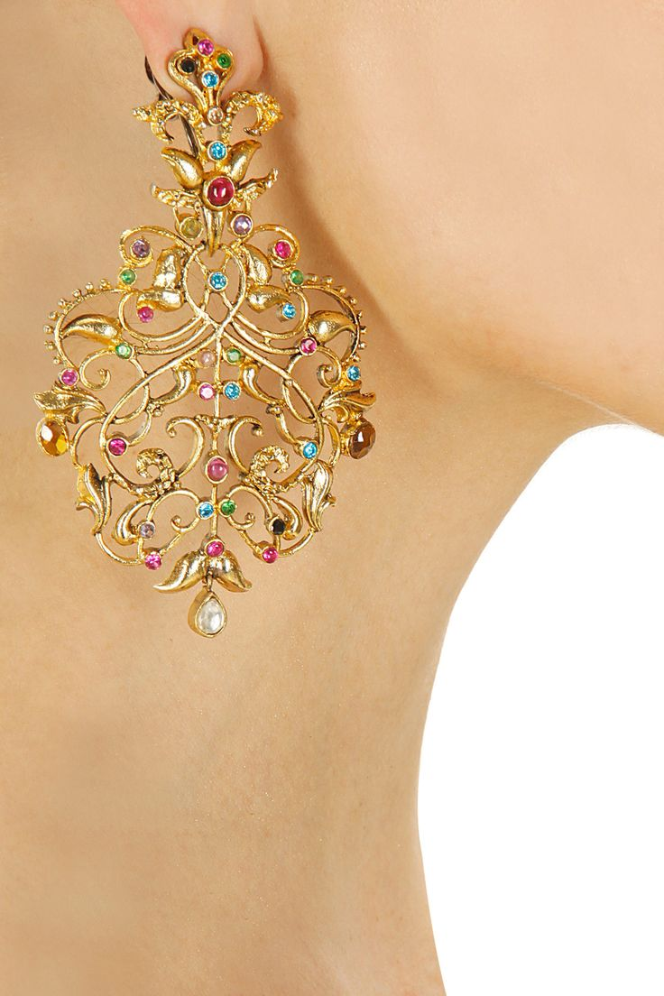 Gold finish filigree earrings by Rohita and Deepa. Shop now: www.perniaspopups