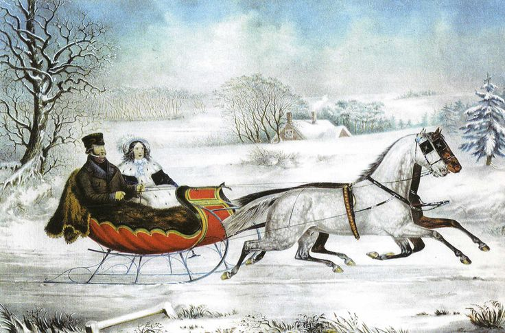 The Winter Road, print by Currier and Ives, 1853. The firm of Currier and Ives, in business from 1834 until 1907, produced over 7,000 different prints and over one million copies of those prints. More of their lithographs (prints made by creating art, then transferring that art to a special stone with a variety of grease pencils, then applying ink, printing in a press, then hand-coloring) hung in American houses than any other art.