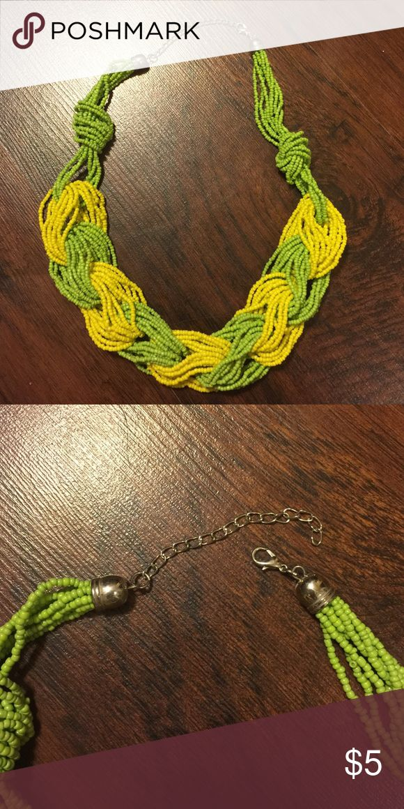 Lime Green and Yellow Statement Necklace This lime green and yellow statement necklace interlocks giving it a braided look. Jewelry Necklaces
