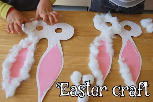 Bunny mask for easter use white card stock/cardboard painted white, add the pink for the ears from card stock/cardboard as well, smear glue all over the white part and stick cotton balls to it to make a cute bunny mask. For hands free you could punch a hole in each side and tie elastic string to it.