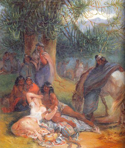 EL RAPTO DE TRINIDAD SALCEDO ARAUCANO CON UUNA CAUTIVA EN EL BOSQUE,  Óleo sobre tela 51 x 43 cm Colección Particular