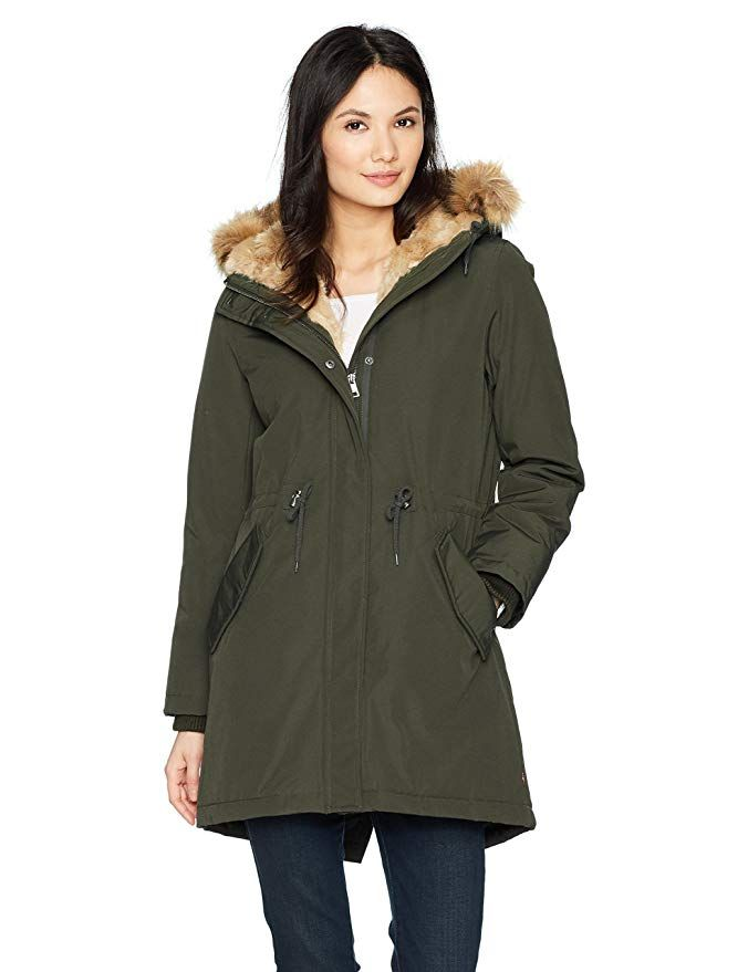 Hooded Parka Jacket, Womens Winter Coat With Fur Lined Hood