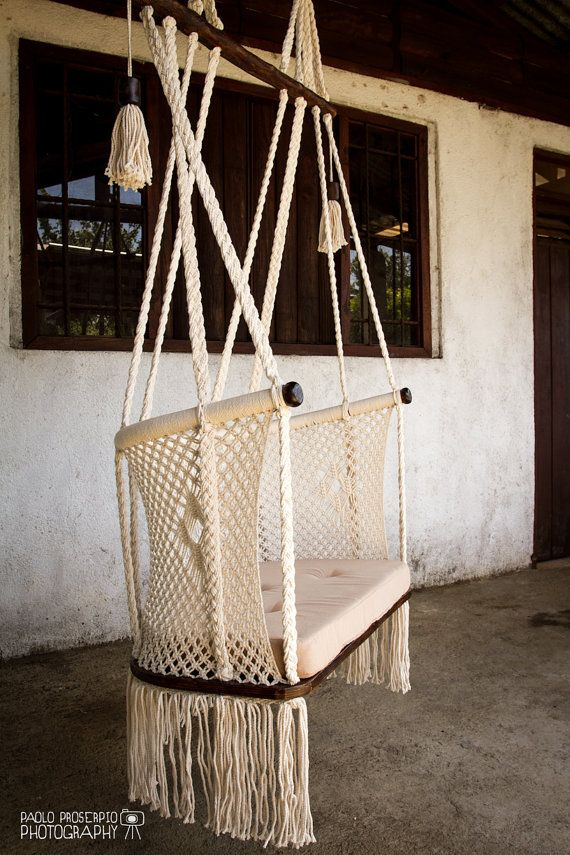 Macrame Hanging Chair - Comfy Design ®. Cream color cotton ropes. Dark Tint wood color. Handmade pillow on request