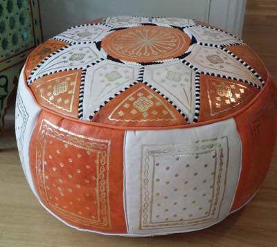 Set of 2 moroccan leather poufs. Foot stool. by MoroccanMedina