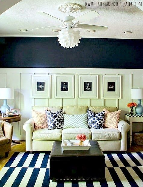Navy Blue And White Living Room For The Bold Take The