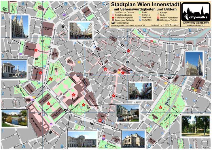 Vienna City Map (Wien Stadtplan, Sehenswürdigkeiten) #vienna #sightseeing #map #download