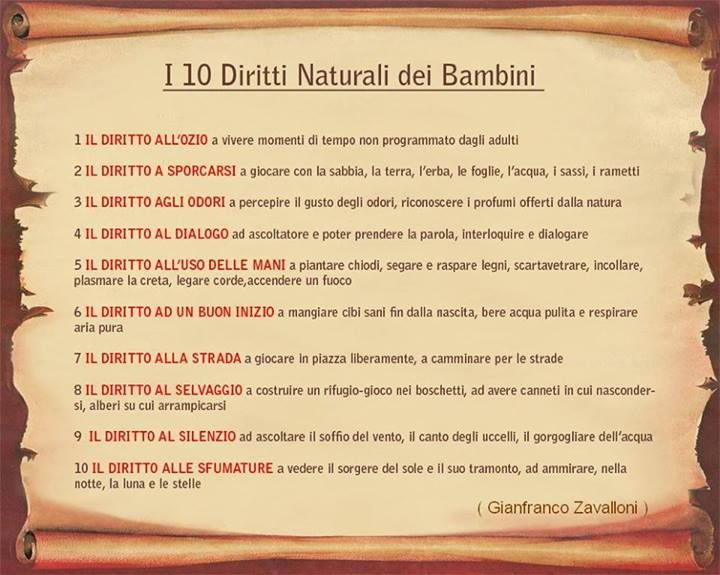 10 diritti naturali dei bambini