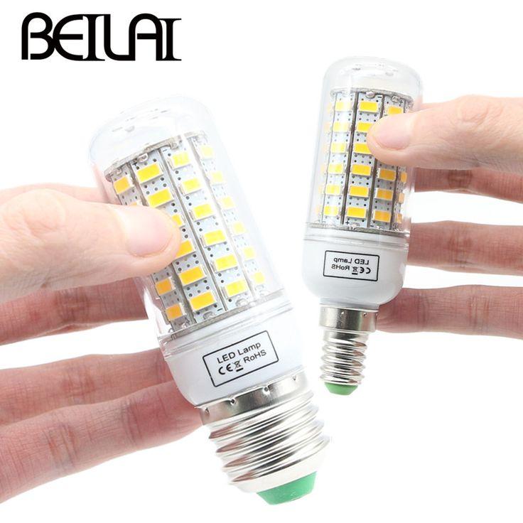 BEILAI SMD 5730 Lampada LED Lamp E27 220V Corn Light E14 LED Bulbs 220V Chandelier Candle Luz 36 48 56 69 72 81 89 96 120LEDs