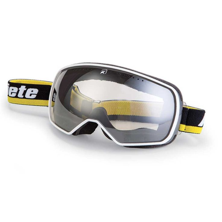 """ARIETE """"Feather"""" in black, yellow & white. Great looking retro motorcycle goggles with spherical yet distortion-free photochromic lens. Total weight only 70 grams!"""