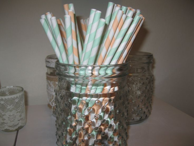 Mixed Mint and Coral white Striped FDA approved 50 paper straws. $7.95, via Etsy.