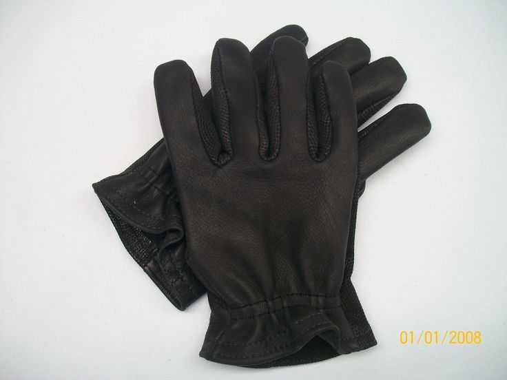 Black Short Cuff Leather Motorcycle Gloves - Size Medium - Made In the USA