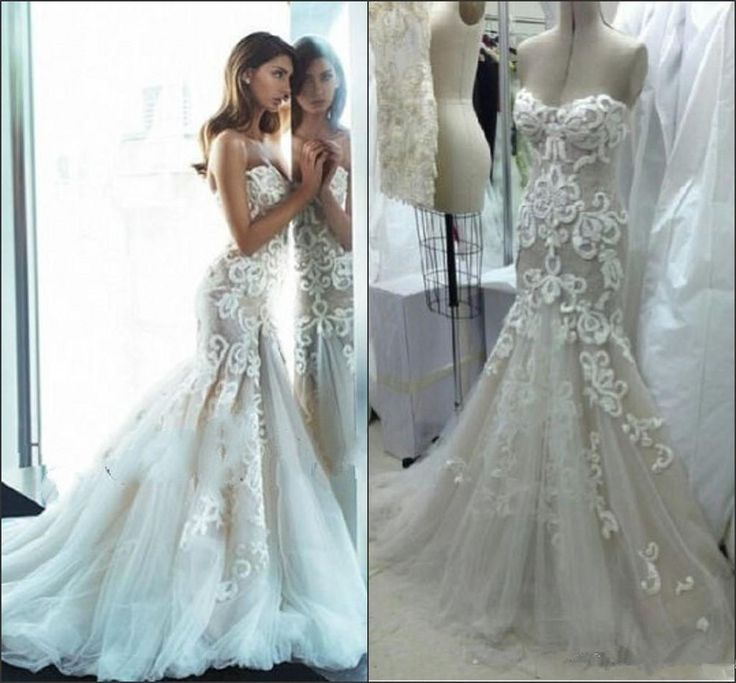 Exquisite Wedding Dress Mermaid Trumpet Sweetheart Applique Bridal Gown Custom