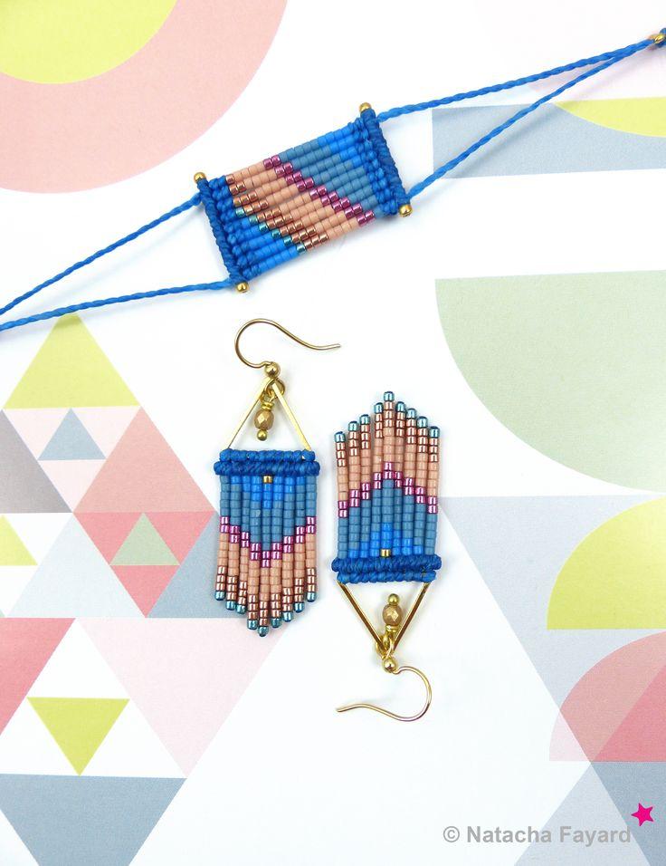 Micro macrame dangle earrings, with miyuki delica seed beads - chevron patterns. Colors : pale yellow, linen, green, fuchsia. © #earrings #miyuki #delica #macrame #micromacrame #multicolore #ss2017 #blue #lapis #lapisblue #niagara #peach # hazelnut #fuchsia #pink #gold #etsy #chevron
