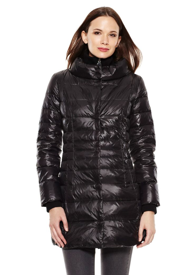 Eva Down puffer coat; Allover quilted stitch detailing; Contrast ribbed stand collar; Long sleeves with interior ribbed knit cuffs; Front zipper pockets with fleece lining; Hidden zipper with hidden snap closure; Fully lined; Packable Women #Outerwear