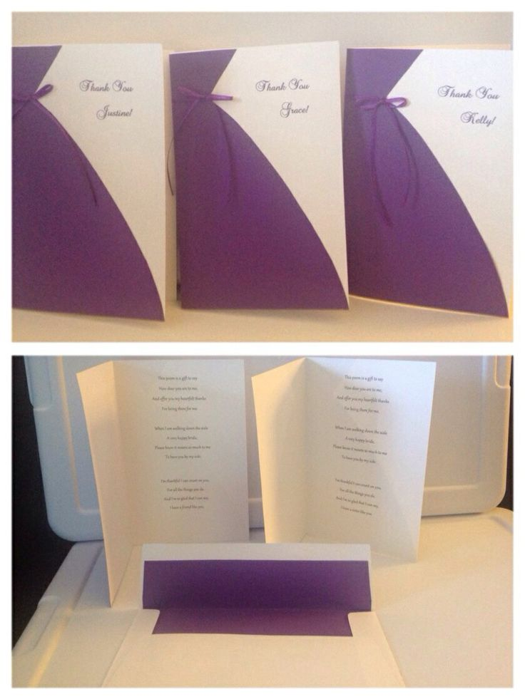 Wedding Gift Sister How Much : Thank you cards for Bridesmaids with poem inside: This poem is a gift ...