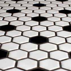 Bathroom tile? @Overstock - This glazed porcelain tile from Somertile is perfect for the kitchen, bath, fireplace, pool, foyer or backsplash. This floor and wall tile comes in tones of white and black.http://www.overstock.com/Home-Garden/SomerTile-12x10.25-in-Victorian-Hex-1-in-White-Black-Dot-Porcelain-Mosaic-Tile-Pack-of-10/5549307/product.html?CID=214117 $57.32
