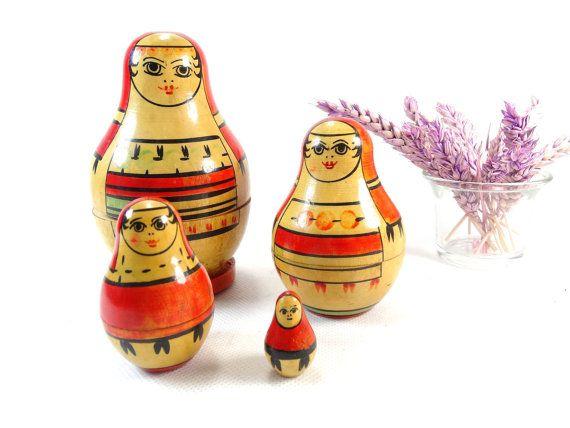 Vintage Matryoshka  Soviet Nesting Dolls  by VintageLittleGems