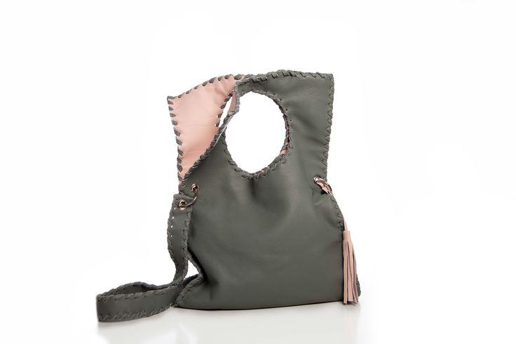 Leather Geometric Bag (grey - pink)
