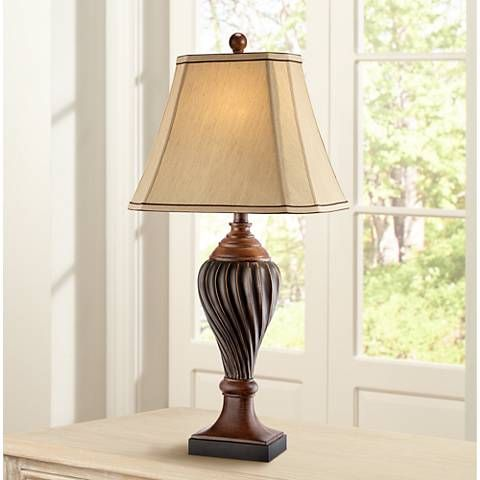 Carved Two-Tone Brown Table Lamp - #T3585 | Lamps Plus