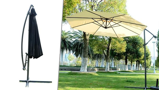Buy 3m Cantilever Banana Parasol - 2 Colours UK deal for just: £49.99 The3m Banana Parasol is great for any kind of outdoor space that might require shade      Unique cantilever frame allows you to extend parasol upwards and outwards      Over-hanging garden parasol makes al fresco dining a joy      Perfect for awkward angles and following the sun      Frame made from iron with added...