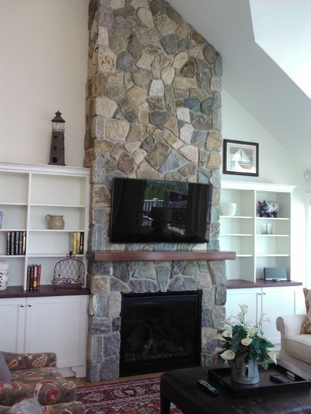 Happy Fireplace Friday! Cozy up by a Boston Blend Thin Veneer Fireplace,  Mosaic Natural