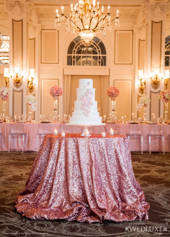 Blush Pink Cake Table decorations.