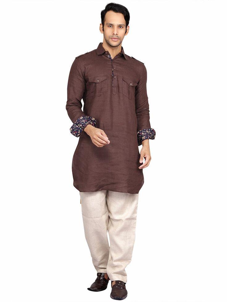 Brown Cotton Festive Wear Plain Pathani Suit