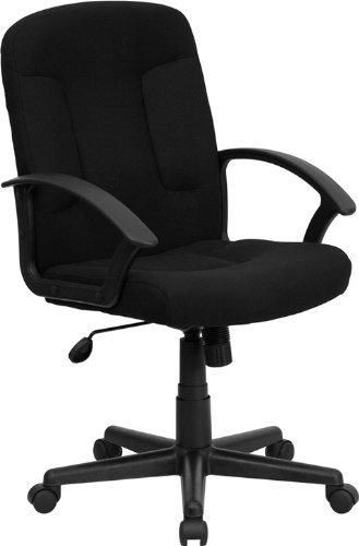 Flash Furniture GO-ST-6-BK-GG Mid-Back Black Fabric Task and Computer Chair with Nylon Arms