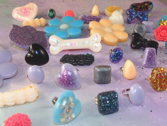 Mix and Match Resin Rings, Brooches, and Hair Clips Goodie Bag // Kawaii Resin Jewelry Goodie Bag // Pastel Goth Accessories Goodie Bag