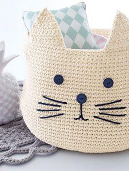 Panier chat au crochet - Chez elkalin.com