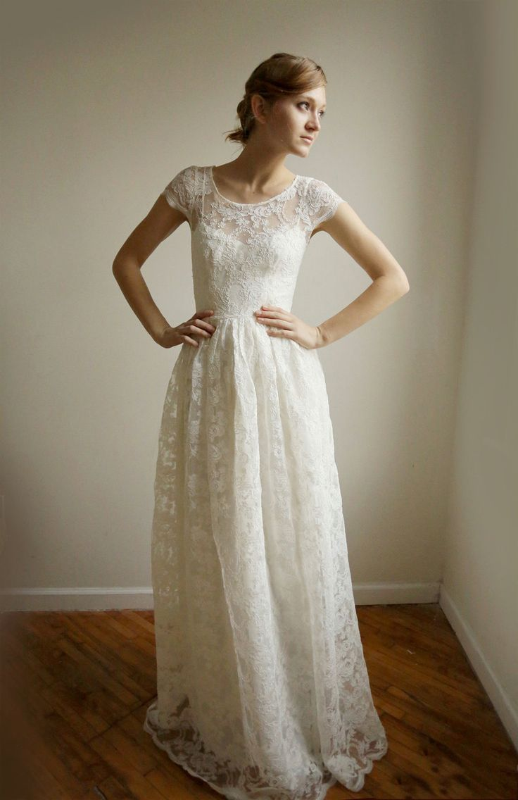 cotton wedding dresses | ... Long --2 Piece, Lace and Cotton Wedding Dress RESERVED for Katherine
