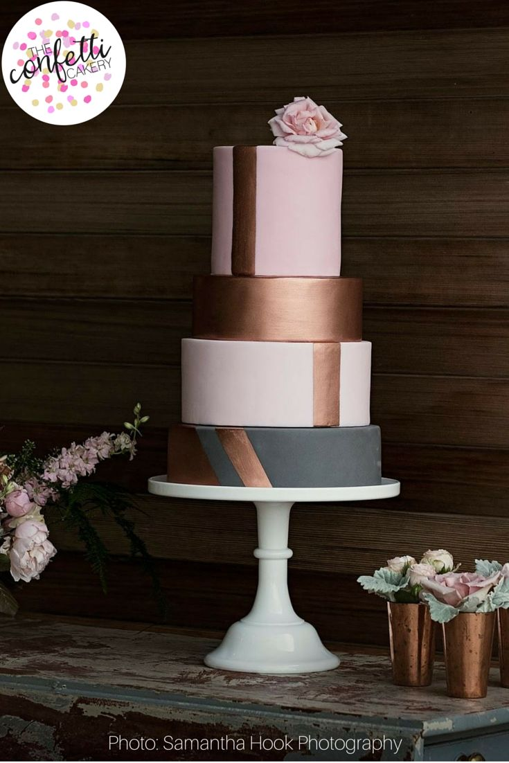 Modern pink wedding cake with rose gold geometric stripes by The Confetti Cakery www.theconfetticakery.co.uk Photo: Samantha Hook Photography.