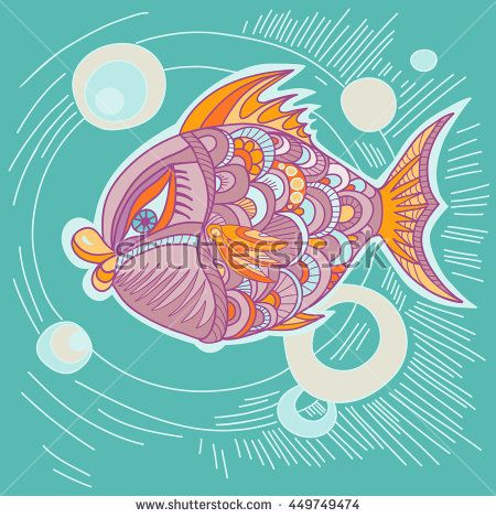 Bright decorative fish hand drawn vector. Illustration is suitable for creating your own patterns, backgrounds, cards, invitations, decorating websites and for the realization of other design ideas.  - stock vector