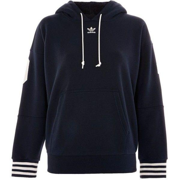 Fleece Hoodie by Adidas Originals ($125) ❤ liked on Polyvore featuring tops, hoodies, navy blue, sweatshirt hoodies, performance fleece hoodie, blue top, topshop tops and fleece hoodie