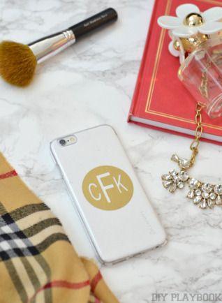 DIY Customized Phone Covers - Gold Monogram.