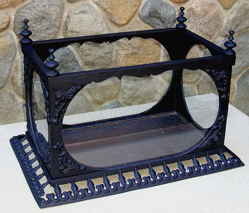-I'm thinking that a cheap aquarium could be embellished to have this sort of look...it would be beautiful for a terrarium or a fish tank...GENUINE VINTAGE ANTIQUE 1860's FISH TANK! VICTORIAN CAST IRON AQUARIUM TERRARIUM