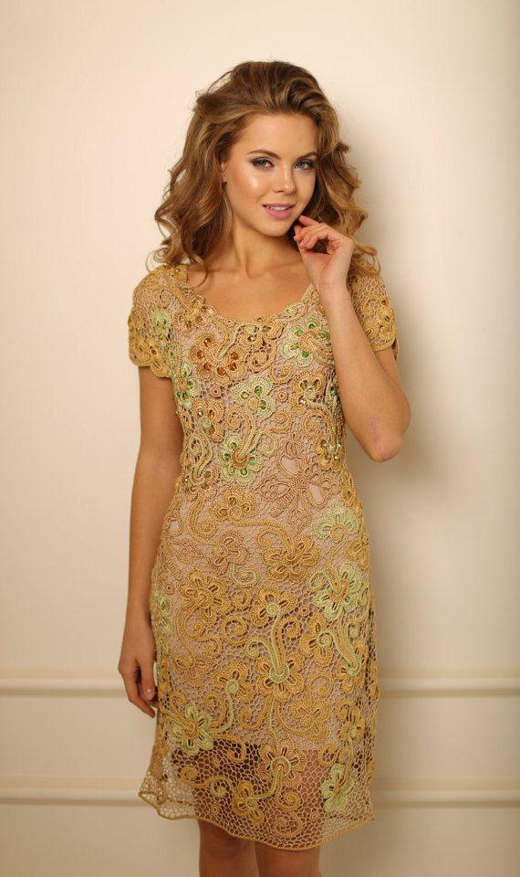 Crochet Cocktail Dress Golda Womem Dress Golden