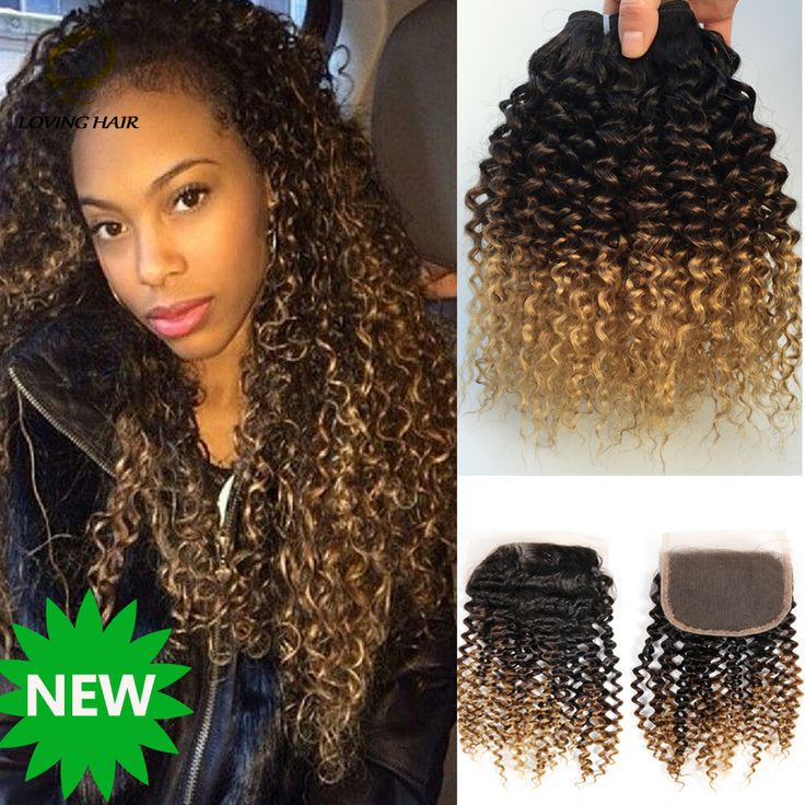 Brazilian Virgin Hair With Closure Ombre 3Bundles With Closure Curly Human Hair Extensions  Meches Bresilienne Lots Avec Closure