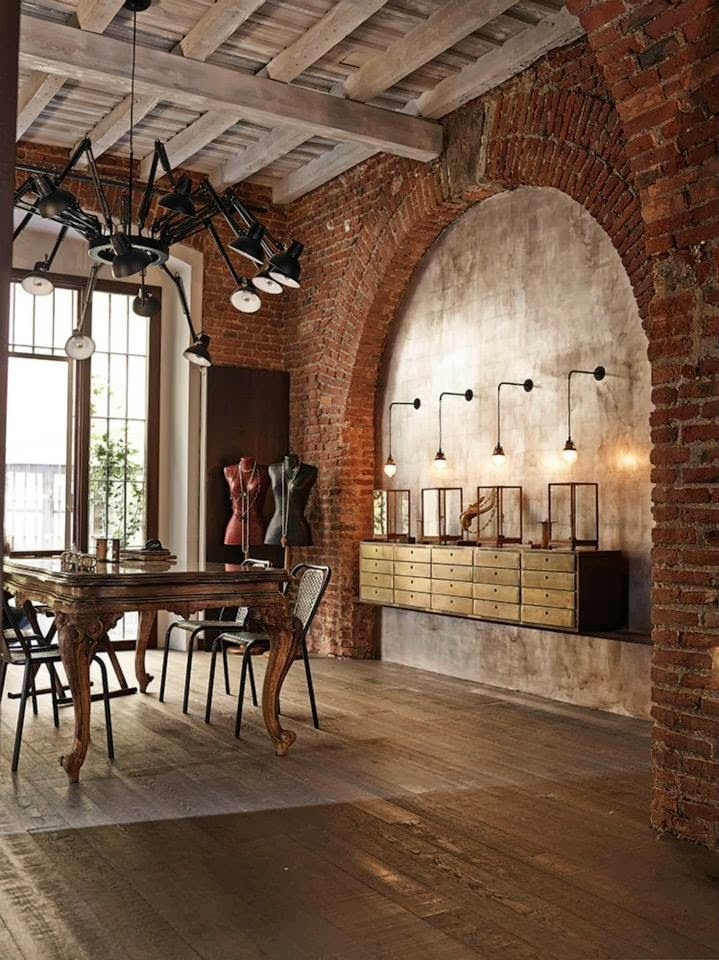 In the basement, I'd like to do arches of brick or stone, to feel like converted vaults. (Flex Inredning: Materialcharm)
