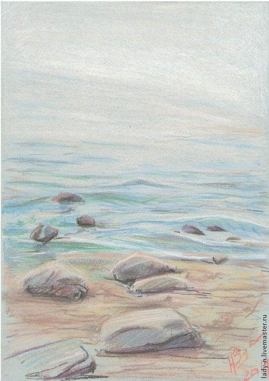 """Купить """"Финский залив"""", картина сухой пастелью - картина, подарок, интерьер, пейзаж, море, берег"""