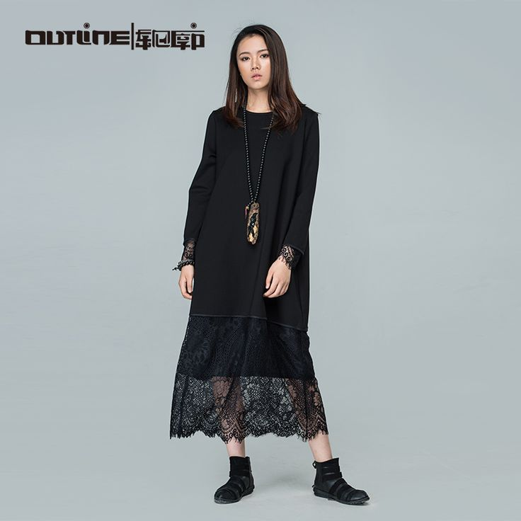 Outline Brand Autumn Black Dresses Medium-long Solid Patchwork Dress Loose Plus Size Long-sleeve Women Maxi Dress L163Y004 >>> Click on the image for additional details.