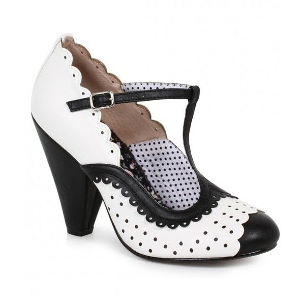 Bettie Page White & Black Leatherette Spectator Paige T-Strap Heels... (€76) ❤ liked on Polyvore featuring shoes, pumps, t strap pumps, black and white pumps, vintage style shoes, bettie page shoes and white and black shoes