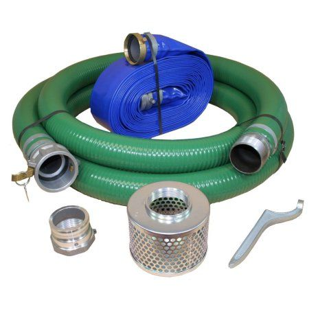 JGB Enterprises Eagle PVC/Aluminum Water/Trash Pump Hose Kit, 3 inch Green Suction Hose Coupled C x KCN, 3 inch Blue Discharge Hose Coupled M x F WS, 70 PSI Max, 50' Length, 3 ID