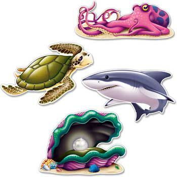 Ocean Party Wall Decoration (set of 4) - Decorations & Party Supplies