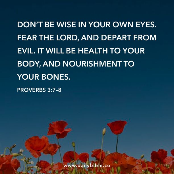 Proverbs 3:7–8  Don't be wise in your own eyes. Fear the LORD, and depart from evil. It will be health to your body, and nourishment to your bones.