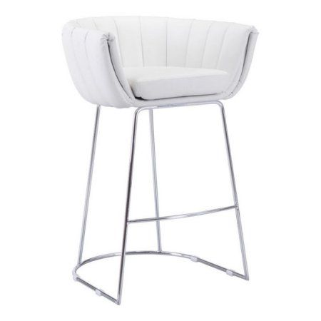 Zuo Set of 2 Latte Modern Bar Chair in White Finish 100247