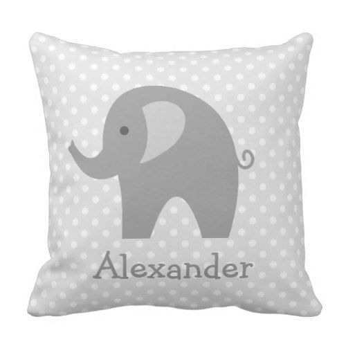 Customized gray elephant throw pillow for nursery room. *** Learn even more at the picture