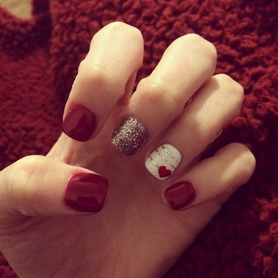 Heart | DIY Valentines Day Nail Art Ideas for Teens